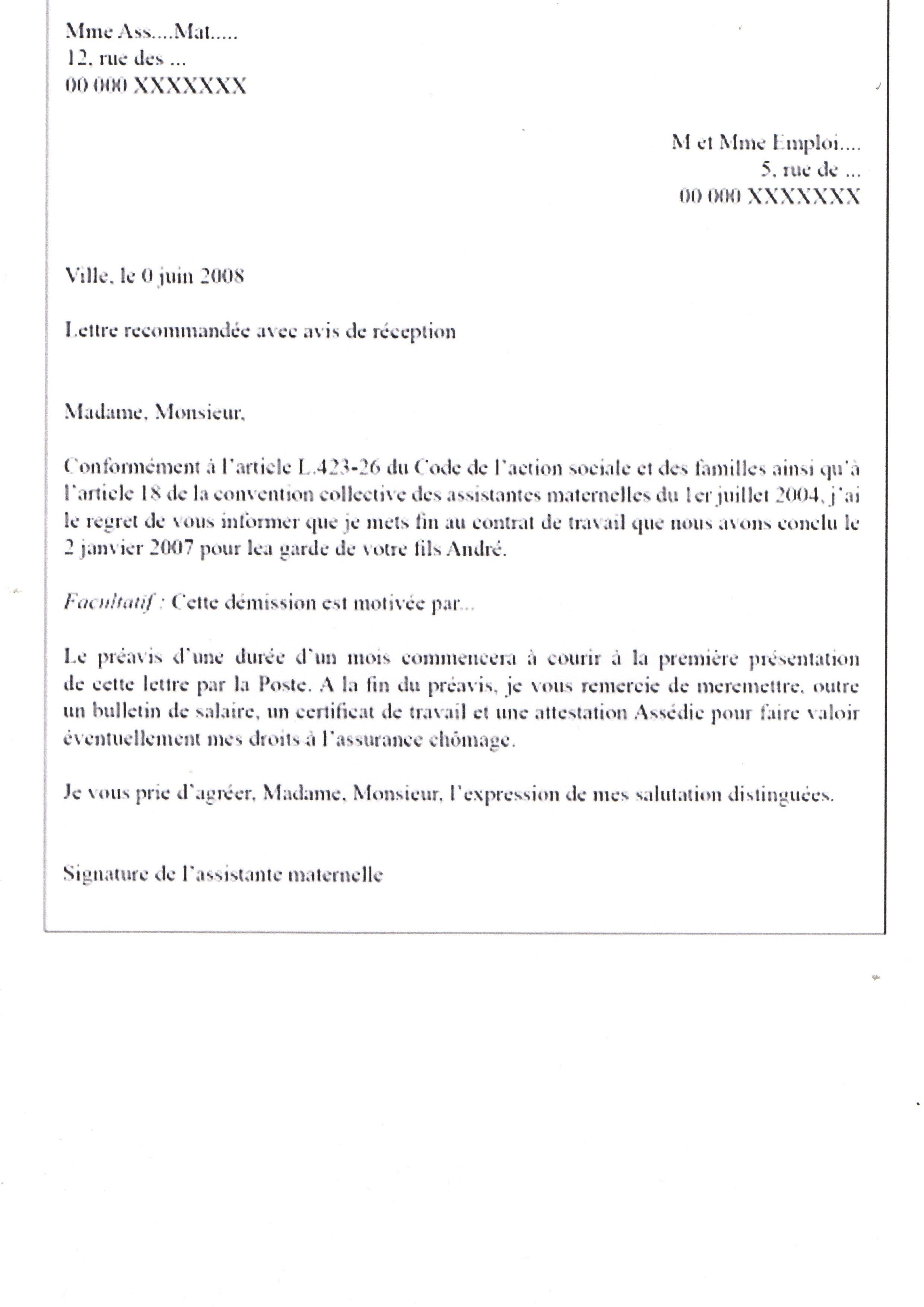 mod u00e8le de lettre d u00e9mission de l u0026 39 assistante maternelle
